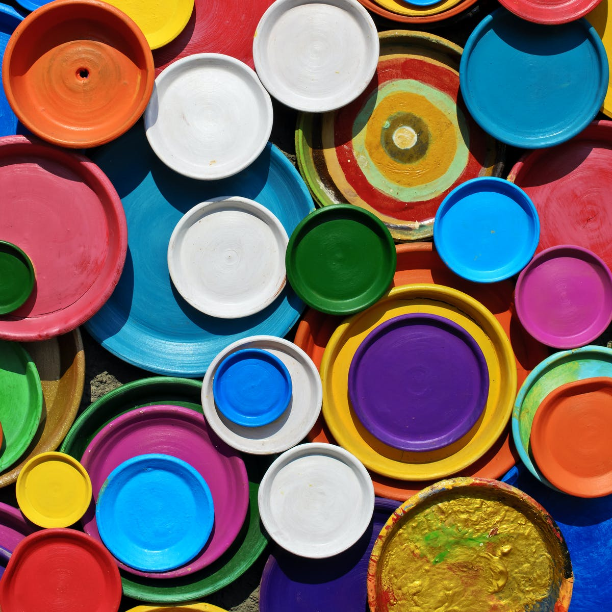 multicoloured ceramic plates