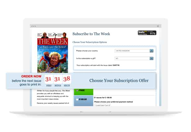 the week subscription page laptop
