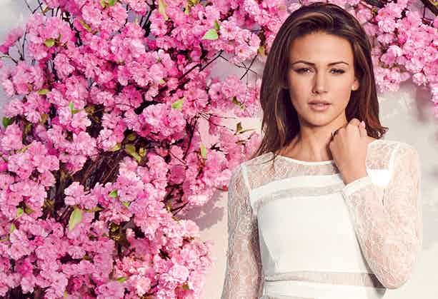 Lipsy white dress pink blossoms