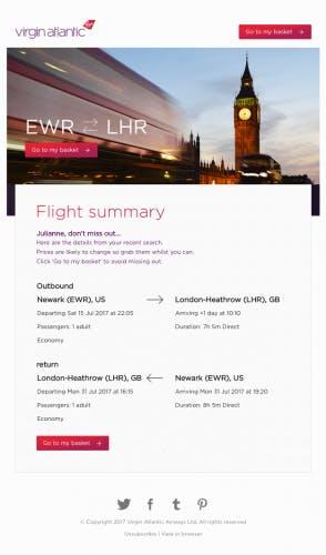virgin atlantic flight summary