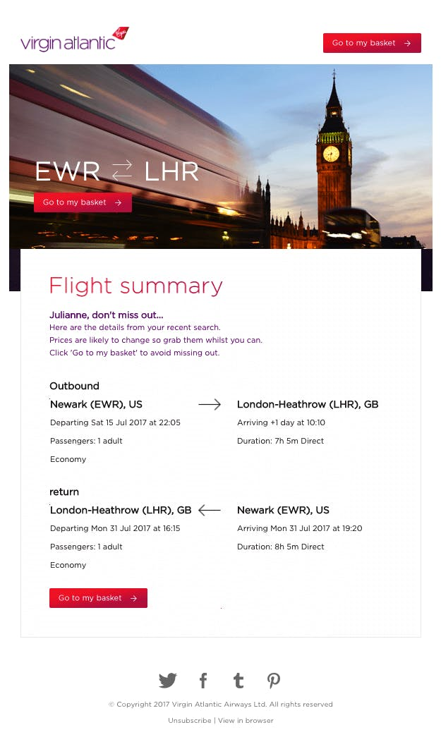 virgin atlantic flight summary