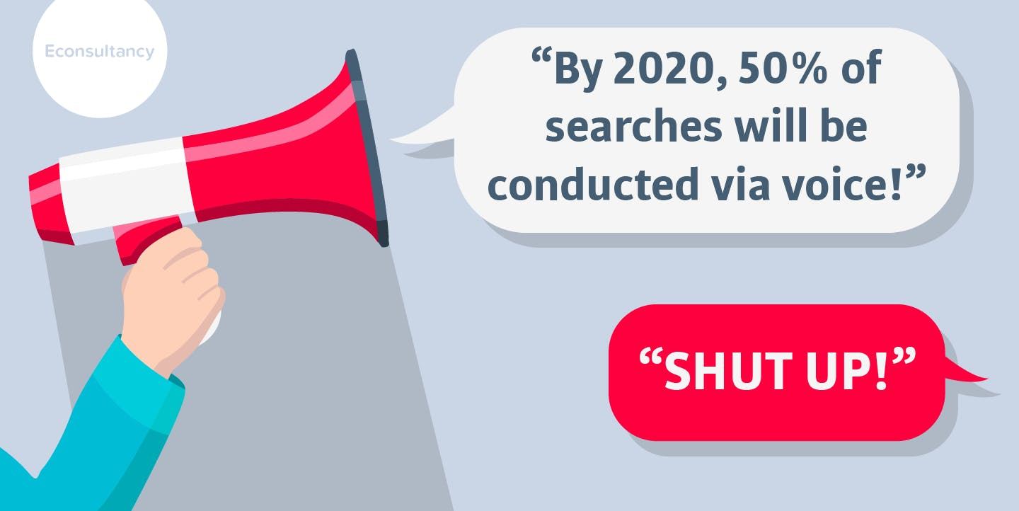 """Why we need to stop repeating the """"50% by 2020"""" voice search prediction"""