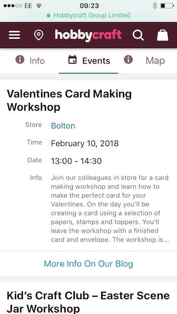 store finder events hobbycraft