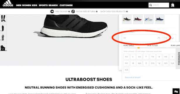 adidas size select