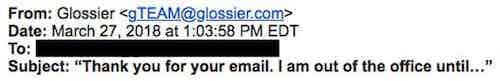 glossier ooo email marketing