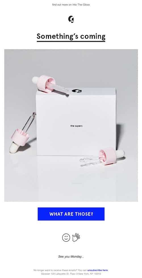 serum teaser email from glossier