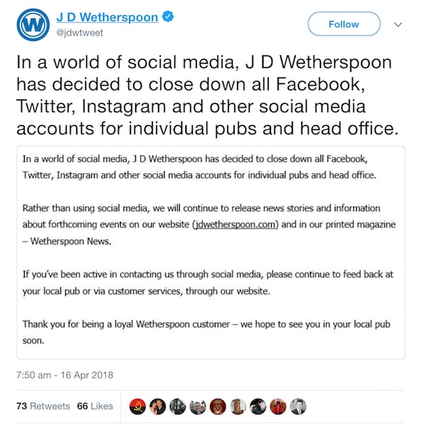 Why Did Jd Wetherspoon Delete Its Social Media Accounts And Was It