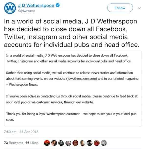 Wetherspoons social media