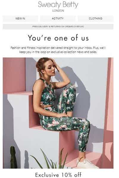sweaty betty welcome email