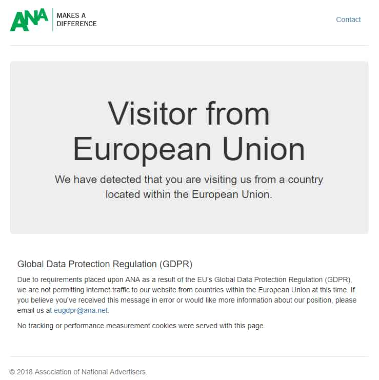ANA GDPR message