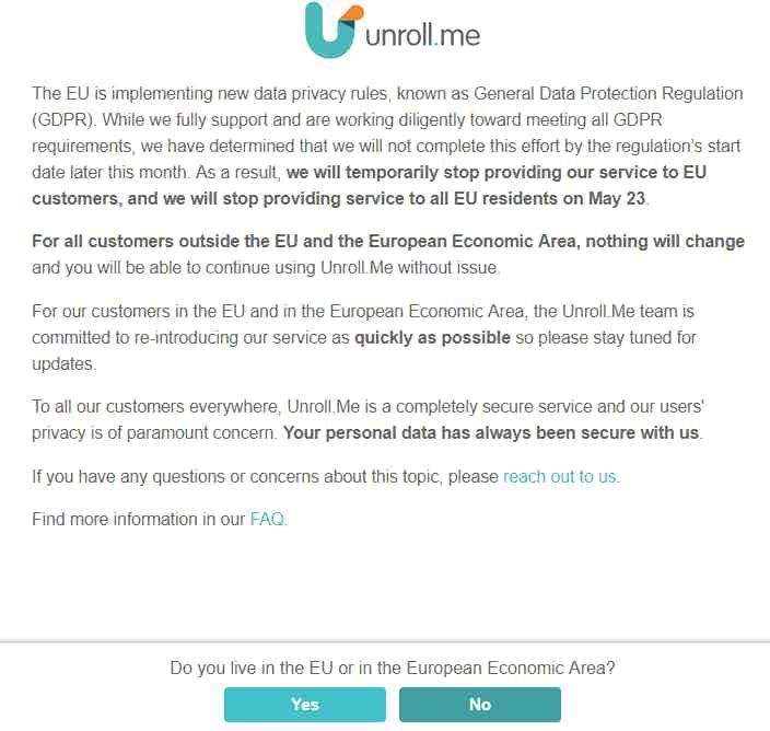 Unroll.me GDPR notice