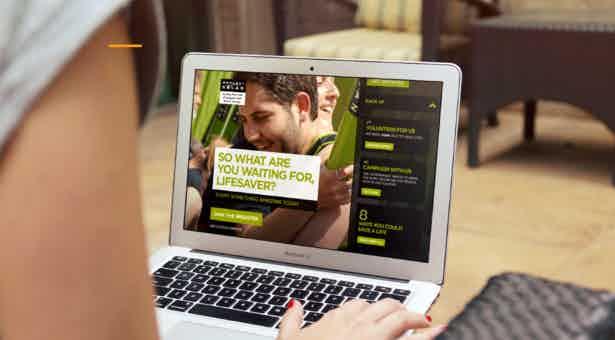 anthony nolan campaign on laptop