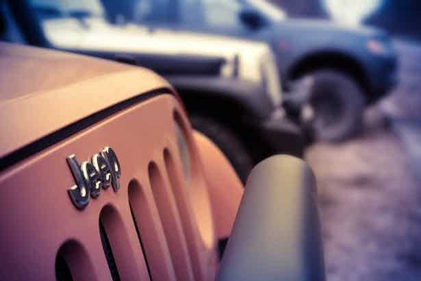 front of jeep with logo