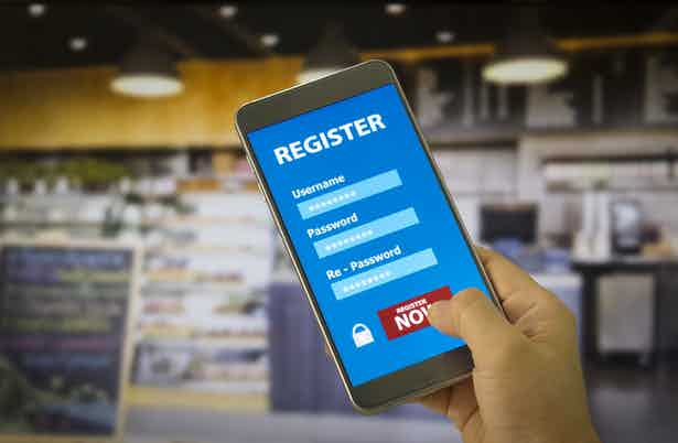 registration form on mobile account