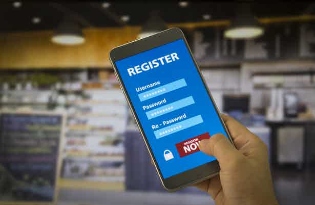 registration form on mobile account