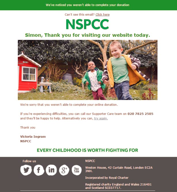 nspcc failed transaction screencap