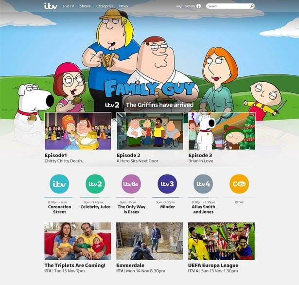 itv hub screencap family guy