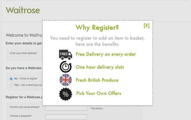 waitrose registration page screencap