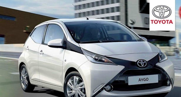 toyota aygo silver on road