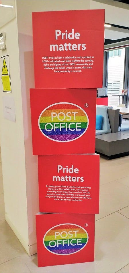 A Pride Matters display at the Post Office in honour of Pride Month.
