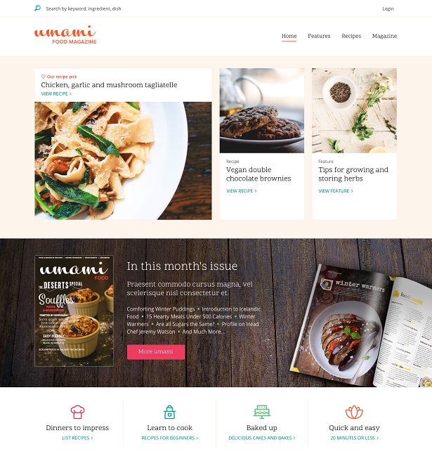 Screenshot from the website of fictional food publication Umami.