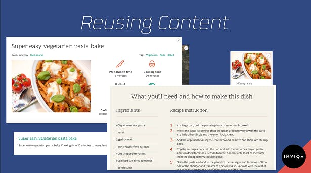 Screencap which illustrates how a piece of content (a recipe for pasta bake) can be repurposed into multiple different formats.