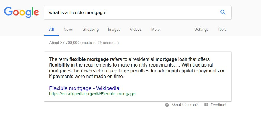 Google direct answer result for search query what is a flexible mortgage?