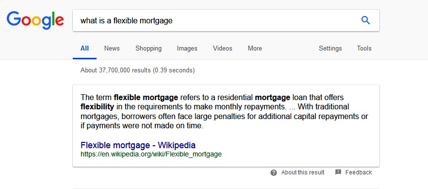Google direct answer result for search query 'what is a flexible mortgage?'