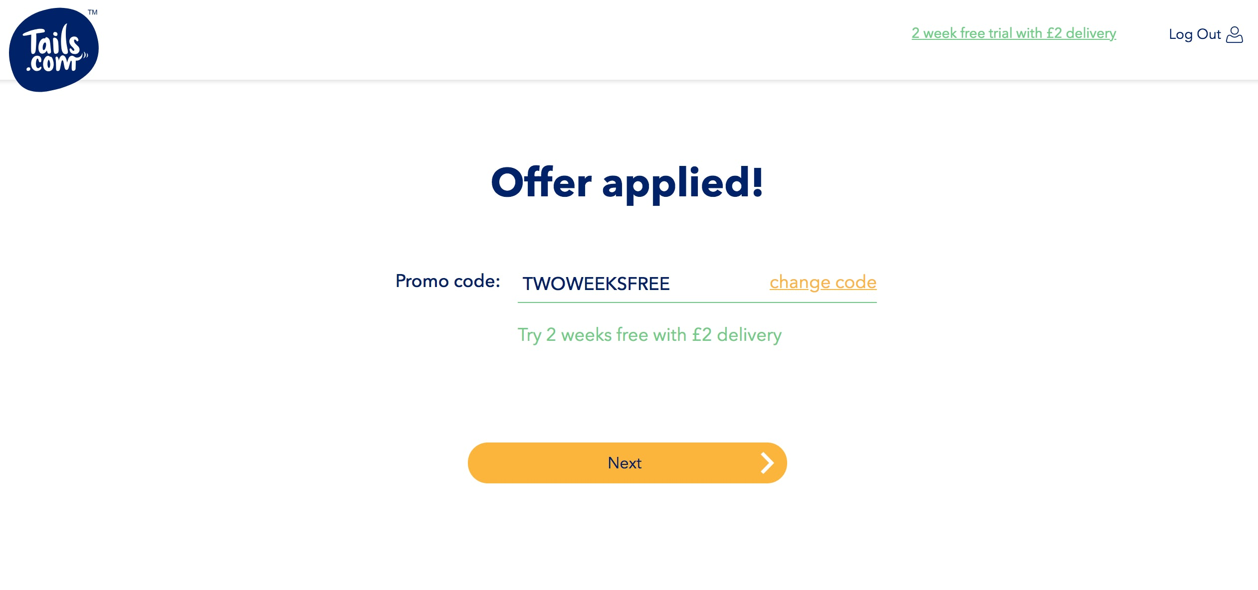 the tails.com website offering 2-week free trial