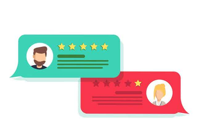 Concept of customer feedback. Rating in the form of stars. Negative or positive rating.