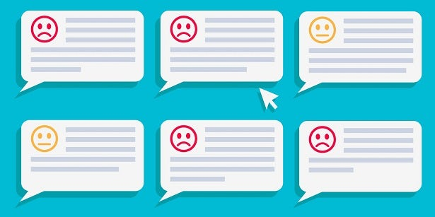 Vector graphic with negative and neutral customer reviews