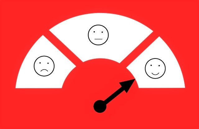 Barometer indicating customer sentiment, with the indicator pointing to a happy face.