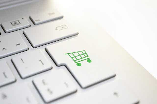 shopping basket on a keyboard