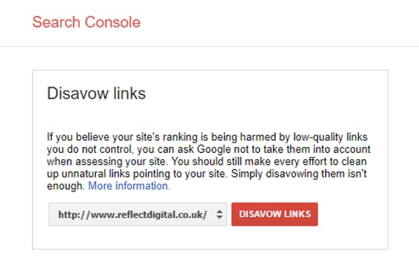 Disavow links section of Google Search Console