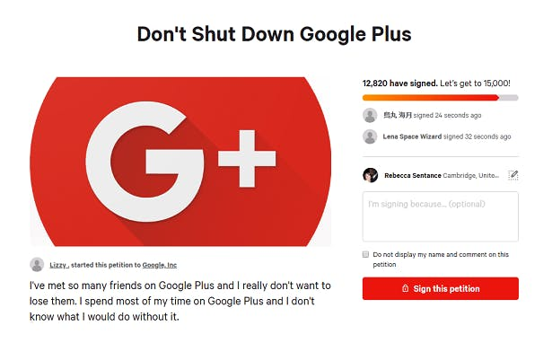 Screenshot of a petition to save Google Plus