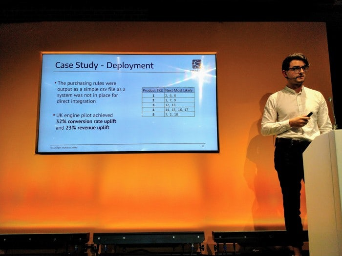 Nick Mottershead of Lynchpin Analytics stands in front of a slide detailing the output and results of the cast study.