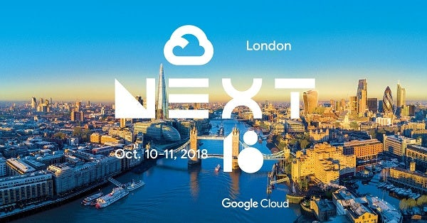 A promotional image for Google Cloud Next London, with the event name and date superimposed on an aerial shot of the City of London.