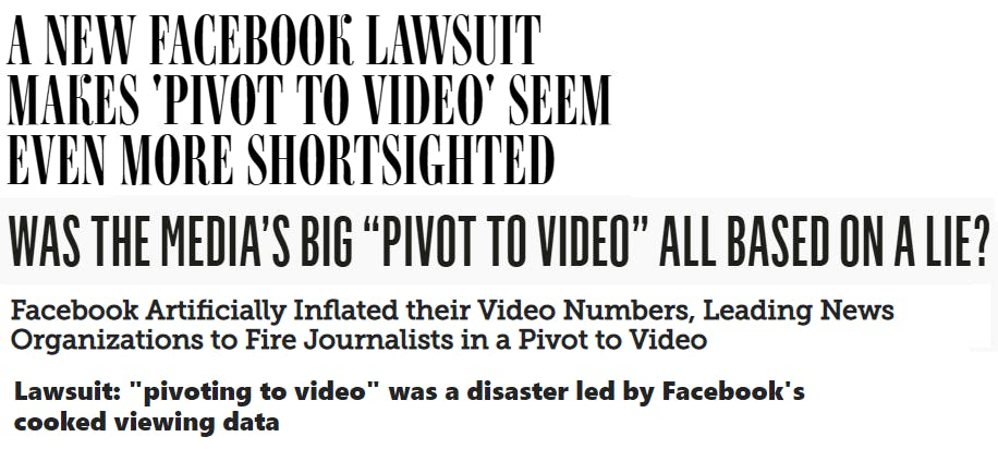 News headlines about Facebook's alleged video ad deception