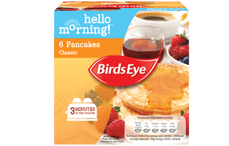 Packaging for Birds Eye classic pancakes from its Hello Morning! range