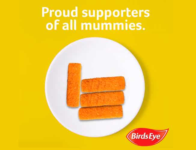 A frame from Birds Eye's #solidaritea gif which reads: Proud supporters of all mummies above a plate of fish fingers.