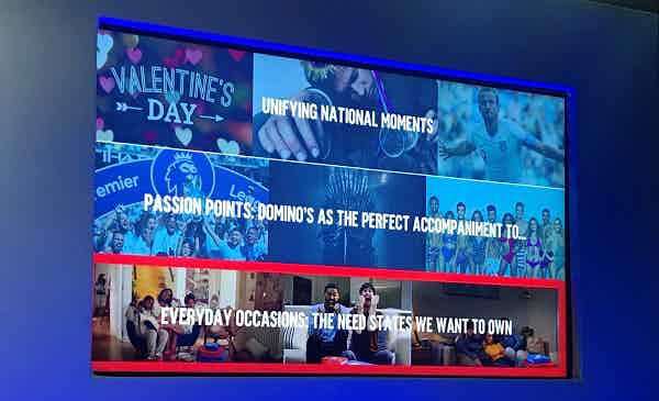 Photo of a presentation slide showing Domino's three layers of digital: Unifying national moments, passion points, and everyday occasions.
