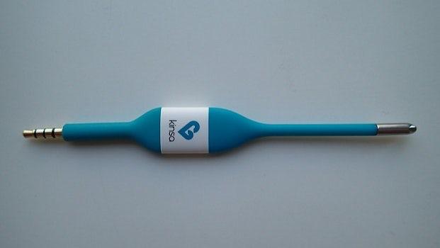 A blue Kinsa smart thermometer