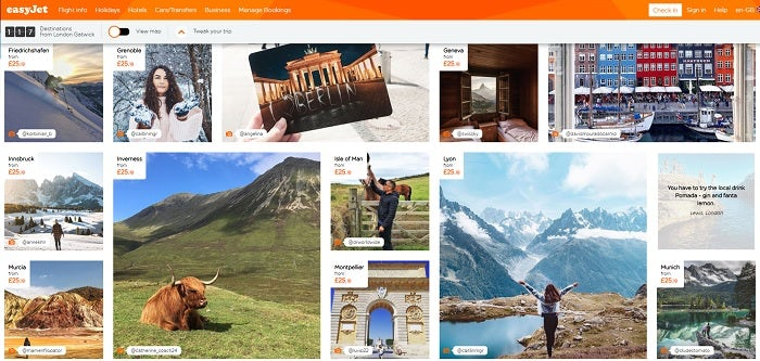 Screenshot of easyJet's Inspire Me page, with a grid of traveller photographs.