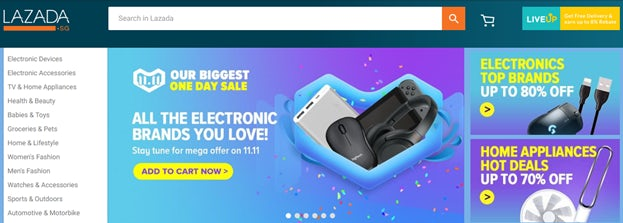 Promotional banners featuring Singles' Day deals on the Lazada homepage