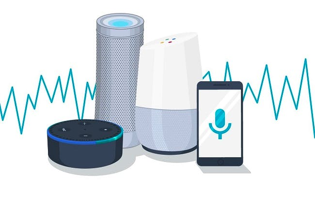 Vector graphic with an Amazon Echo Dot, Open gallery Harman Kardon Invoke, Google Home and a smartphone showing a microphone icon, with blue sound waves in the background.