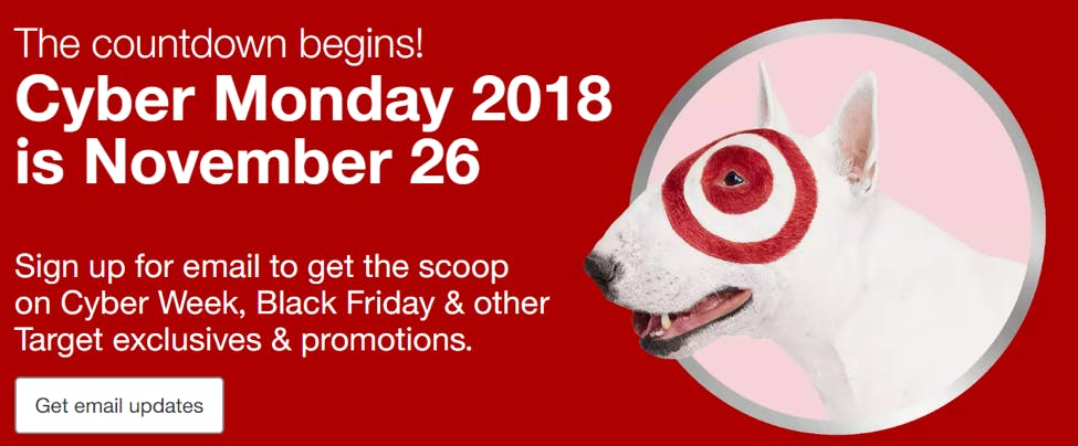 target cyber monday messaging