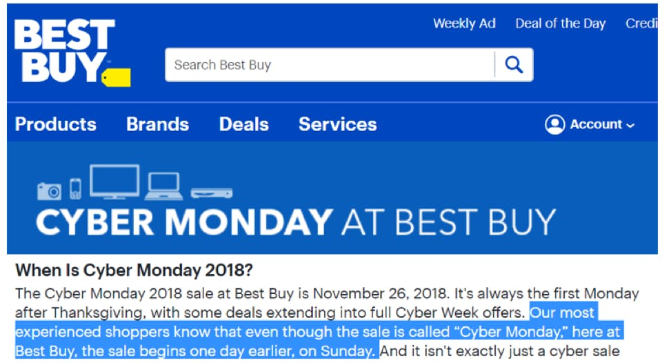 best buy cyber monday messaging
