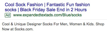 A PPC ad reading: Cool sock fashion | fantastic fun fashion socks | Black Friday sale end in 2 hours