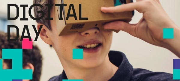 BIMA Digital Day promotional image, showing a young person holding a cardboard VR headset up to their eyes.