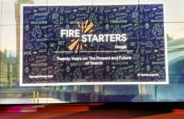 Presentation slide displaying the Google Firestarters logo with the title Twenty years on: the present and future of search beneath it.